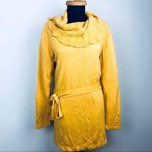 Fall Mustard Yellow Crochet Neck Belted Tunic